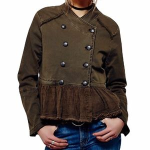 Free People Olive Green Military Ruffled Jacket Chic Front Button Closure Sm